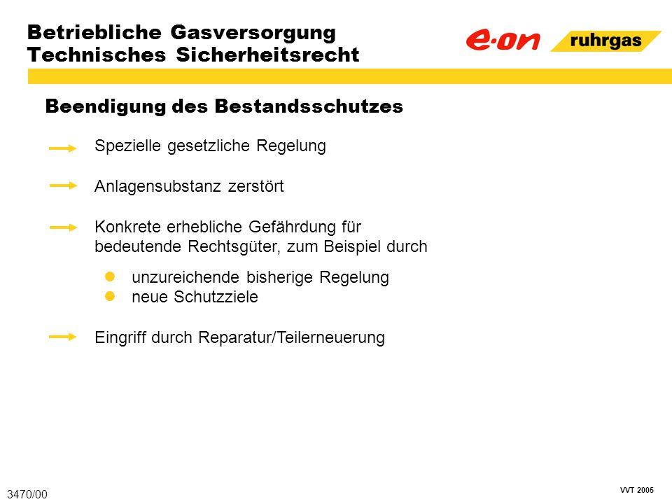 VVT 2005 Betriebliche Gasversorgung Technisches Sicherheitsrecht Beendigung des Bestandsschutzes 3470/00 Spezielle gesetzliche Regelung Anlagensubstan