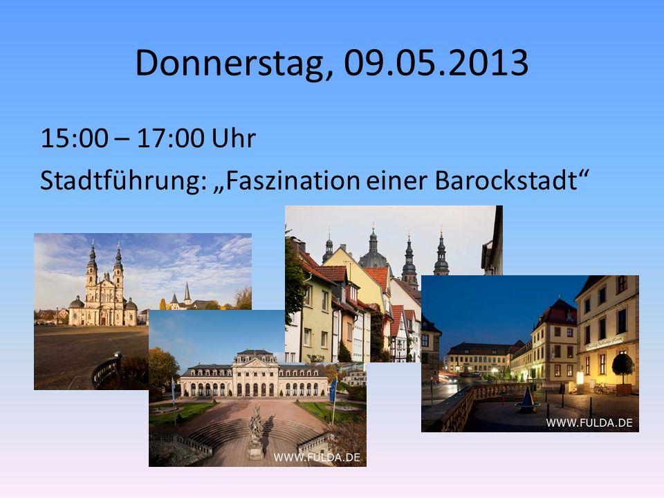"""Donnerstag, 09.05.2013 15:00 – 17:00 Uhr Stadtführung: """"Faszination einer Barockstadt"""