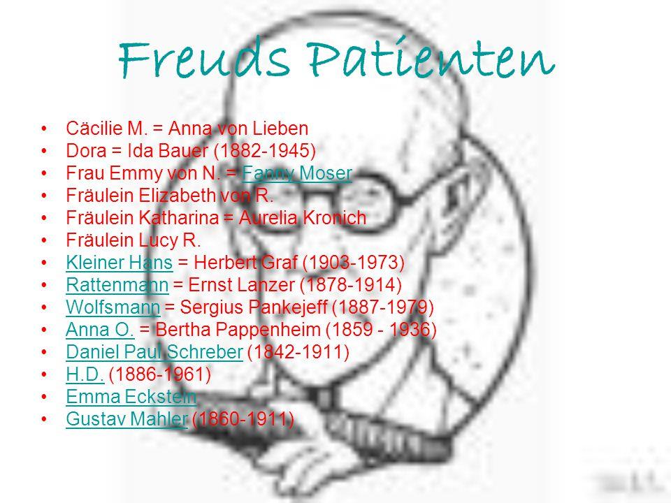 Freuds Patienten Cäcilie M. = Anna von Lieben Dora = Ida Bauer (1882-1945) Frau Emmy von N. = Fanny MoserFanny Moser Fräulein Elizabeth von R. Fräulei