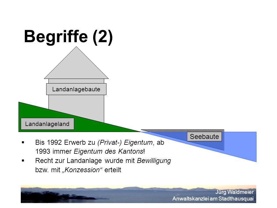 Jürg Waldmeier Anwaltskanzlei am Stadthausquai Landanlagebaute Landanlageland Seebaute  Bis 1992 Erwerb zu (Privat-) Eigentum, ab 1993 immer Eigentum des Kantons.