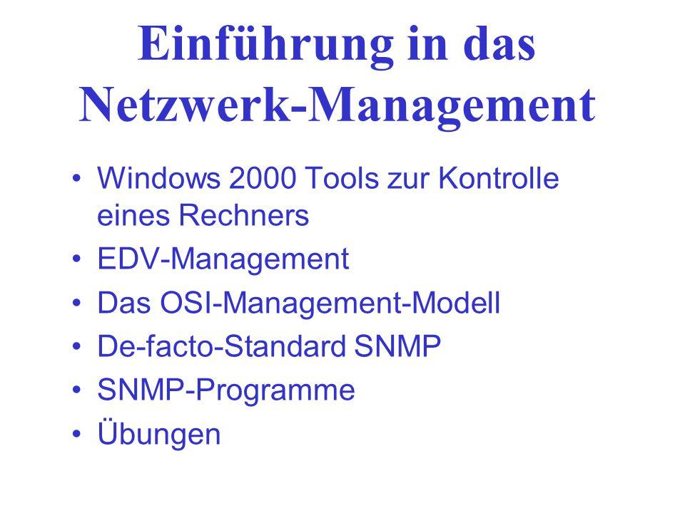 Einführung in das Netzwerk-Management Windows 2000 Tools zur Kontrolle eines Rechners EDV-Management Das OSI-Management-Modell De-facto-Standard SNMP