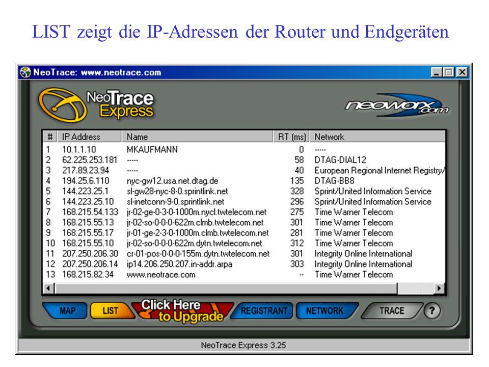LIST zeigt die IP-Adressen der Router und Endgeräten