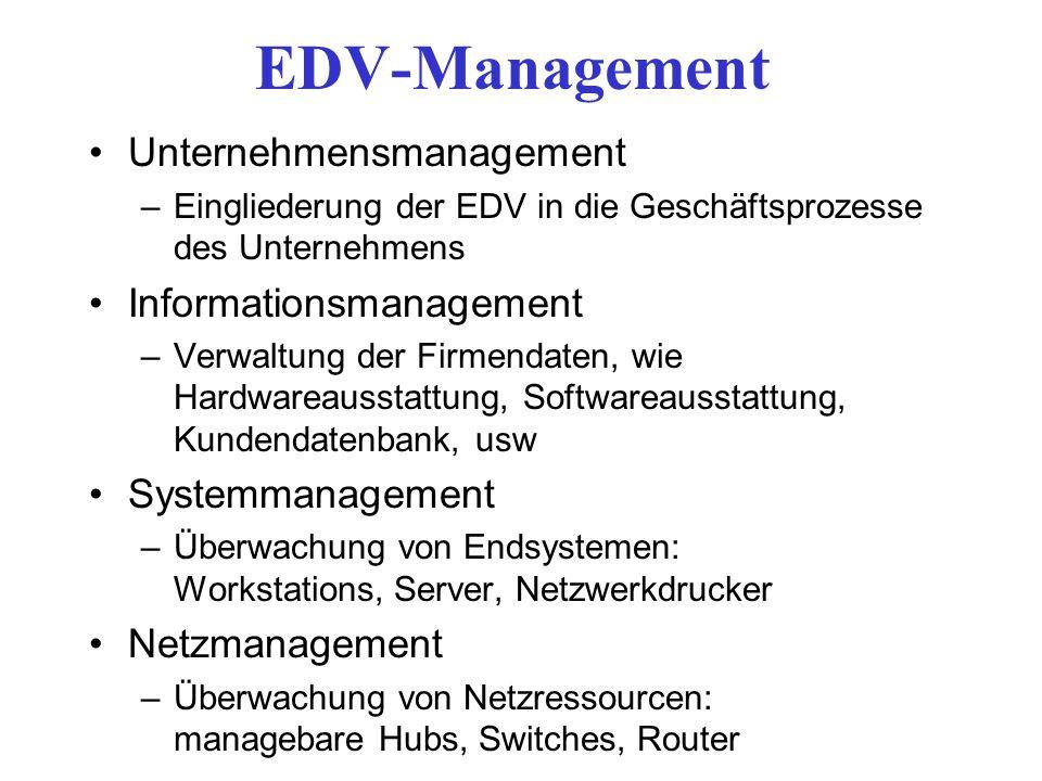 EDV-Management Unternehmensmanagement –Eingliederung der EDV in die Geschäftsprozesse des Unternehmens Informationsmanagement –Verwaltung der Firmenda