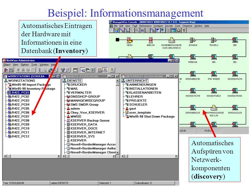 Beispiel: Informationsmanagement Automatisches Aufspüren von Netzwerk- komponenten (discovery) Automatisches Eintragen der Hardware mit Informationen