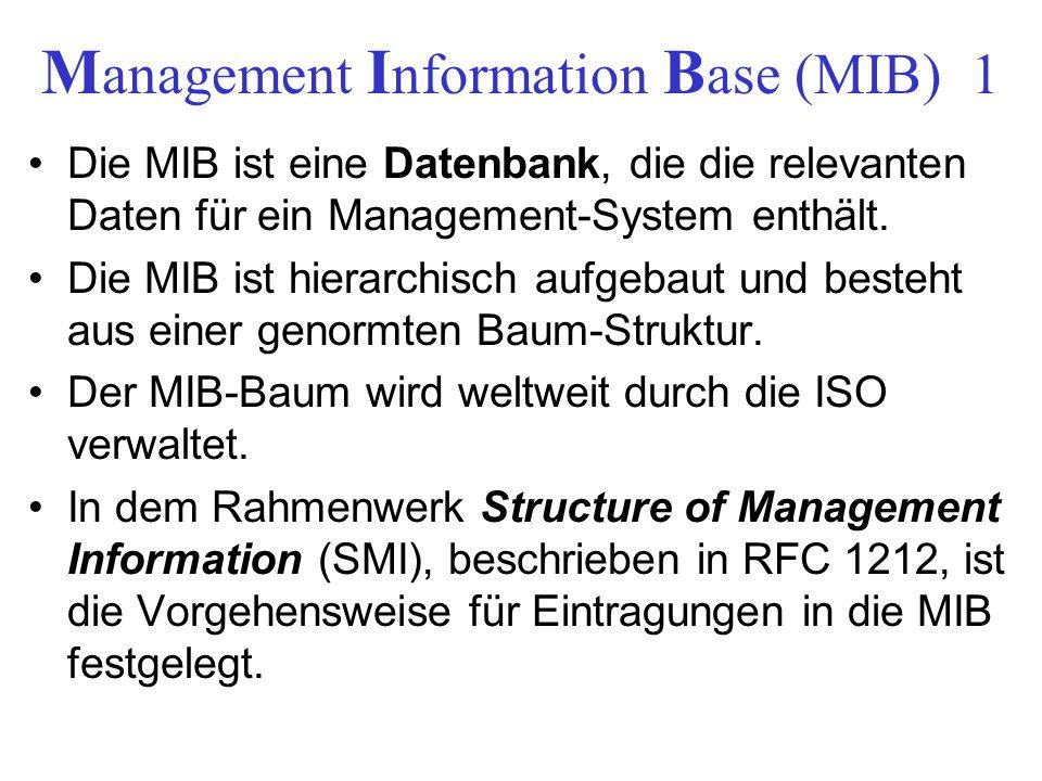 M anagement I nformation B ase (MIB) 1 Die MIB ist eine Datenbank, die die relevanten Daten für ein Management-System enthält. Die MIB ist hierarchisc