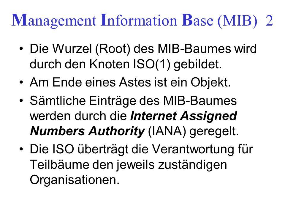 M anagement I nformation B ase (MIB) 2 Die Wurzel (Root) des MIB-Baumes wird durch den Knoten ISO(1) gebildet. Am Ende eines Astes ist ein Objekt. Säm