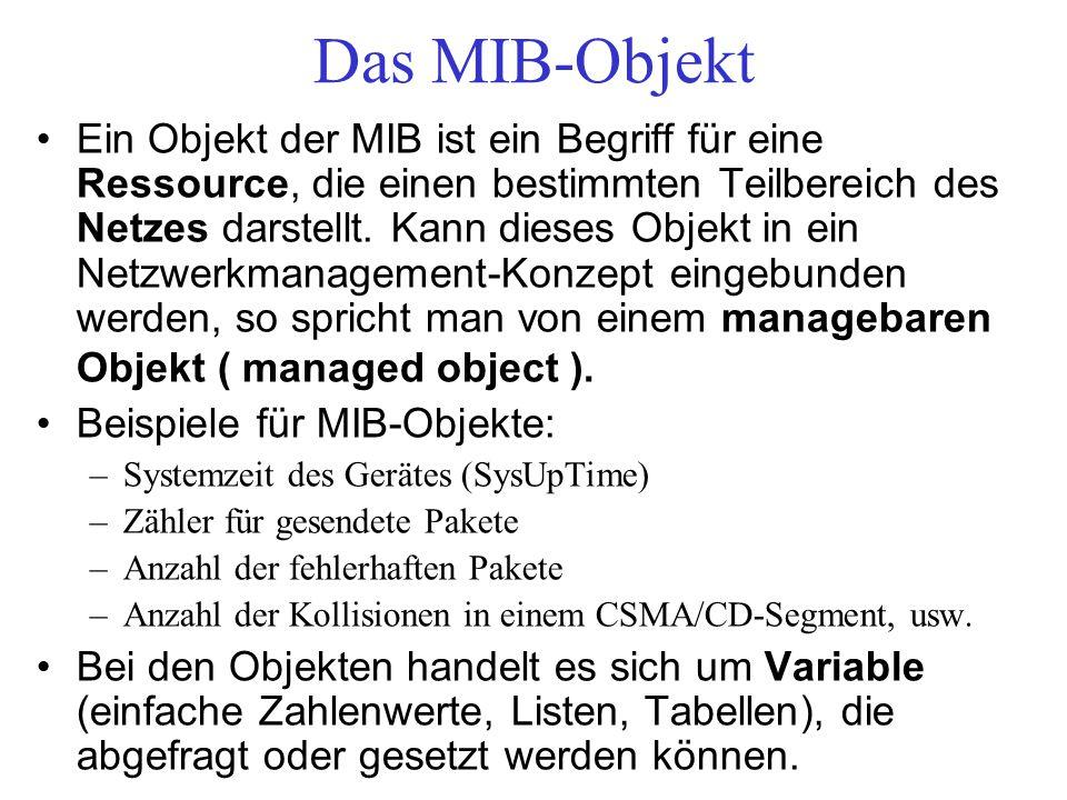 Das MIB-Objekt Ein Objekt der MIB ist ein Begriff für eine Ressource, die einen bestimmten Teilbereich des Netzes darstellt. Kann dieses Objekt in ein