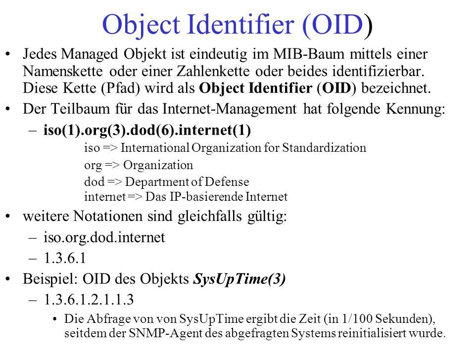 Object Identifier (OID) Jedes Managed Objekt ist eindeutig im MIB-Baum mittels einer Namenskette oder einer Zahlenkette oder beides identifizierbar. D