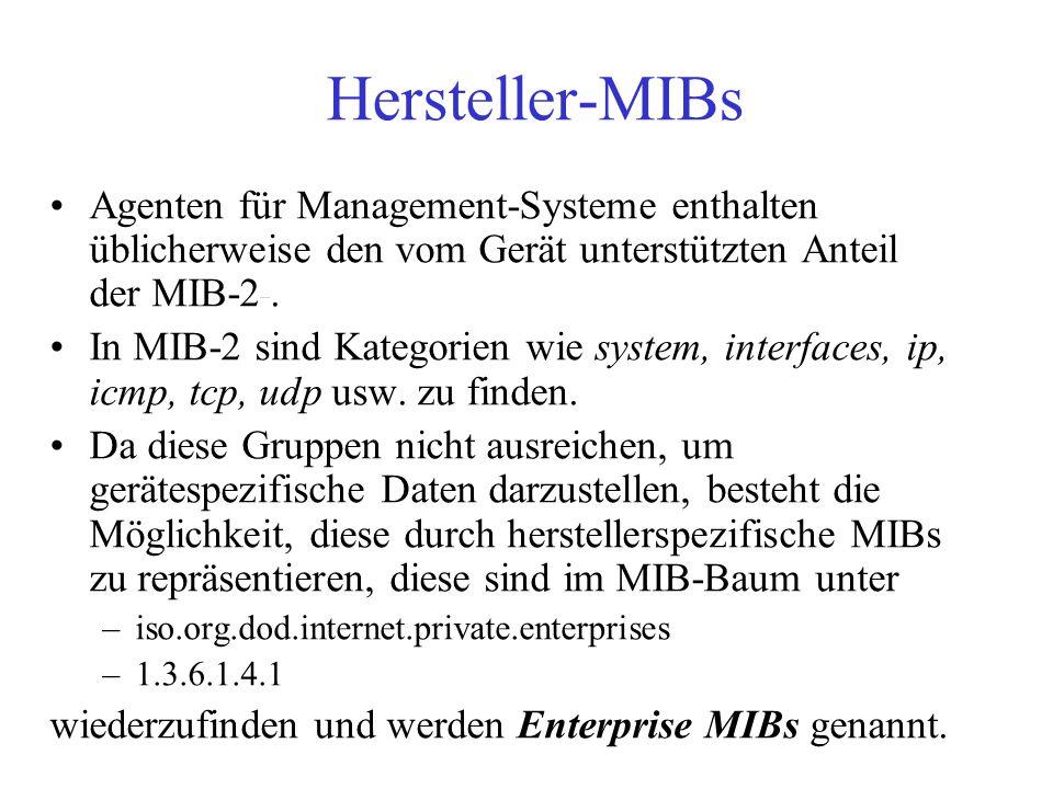 Hersteller-MIBs Agenten für Management-Systeme enthalten üblicherweise den vom Gerät unterstützten Anteil der MIB-2. In MIB-2 sind Kategorien wie syst