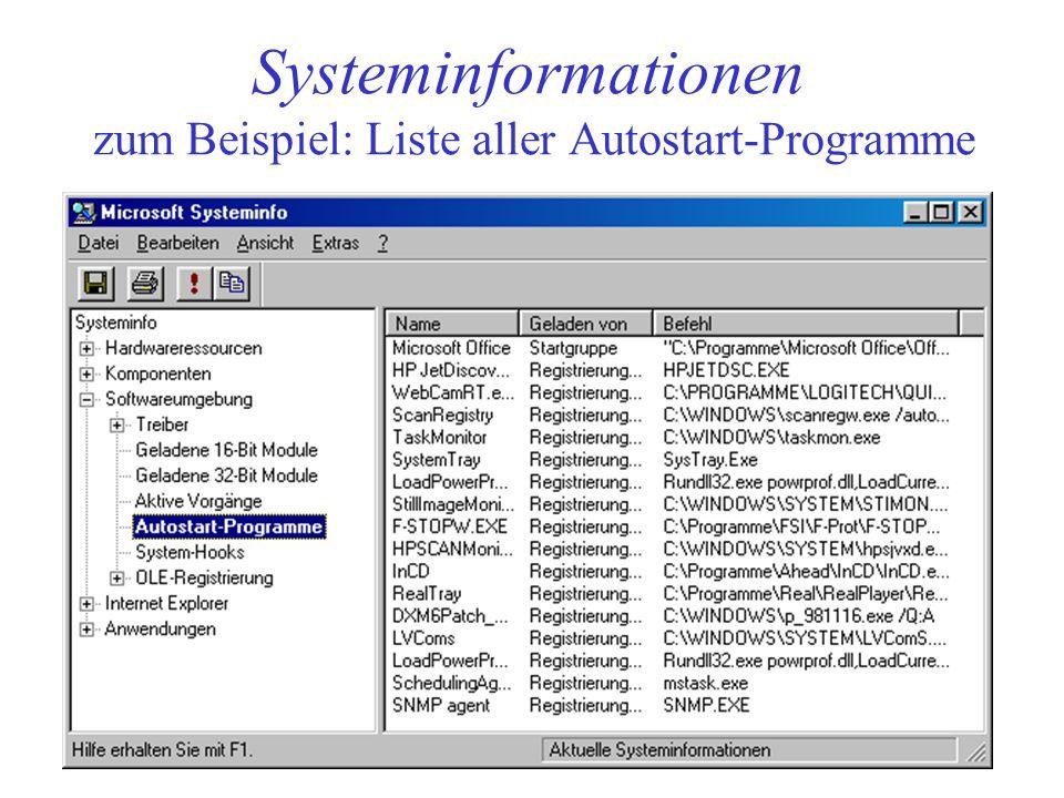 Systeminformationen zum Beispiel: Liste aller Autostart-Programme