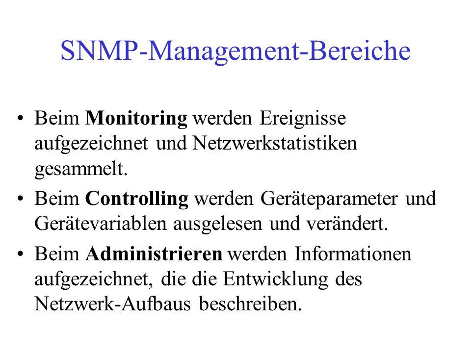 SNMP-Management-Bereiche Beim Monitoring werden Ereignisse aufgezeichnet und Netzwerkstatistiken gesammelt. Beim Controlling werden Geräteparameter un