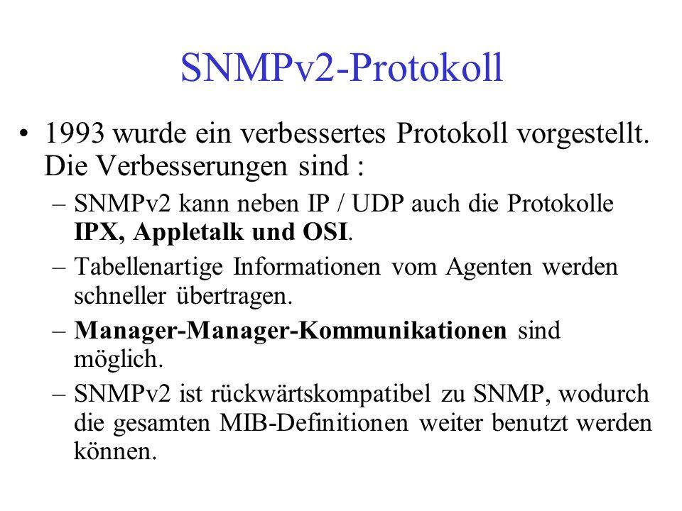 SNMPv2-Protokoll 1993 wurde ein verbessertes Protokoll vorgestellt. Die Verbesserungen sind : –SNMPv2 kann neben IP / UDP auch die Protokolle IPX, App