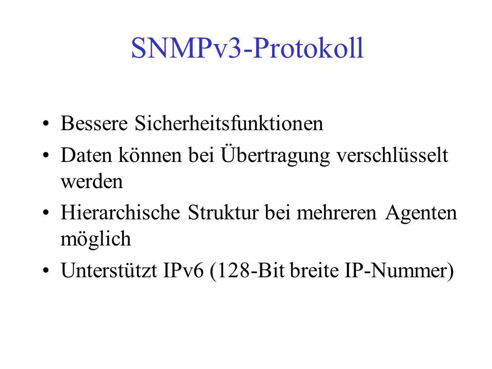SNMPv3-Protokoll Bessere Sicherheitsfunktionen Daten können bei Übertragung verschlüsselt werden Hierarchische Struktur bei mehreren Agenten möglich U