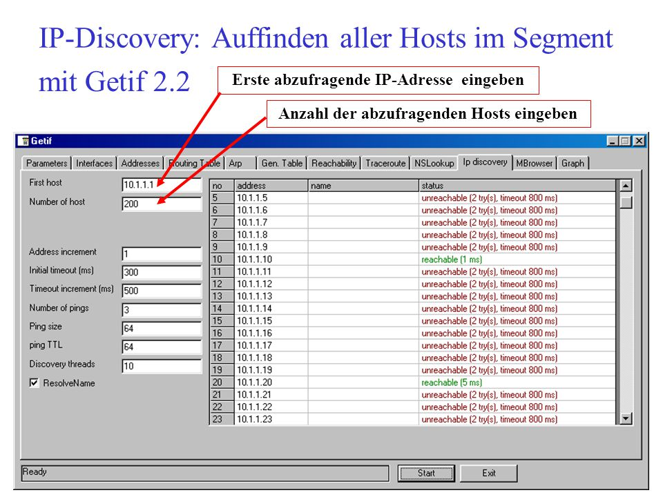 IP-Discovery: Auffinden aller Hosts im Segment Erste abzufragende IP-Adresse eingeben Anzahl der abzufragenden Hosts eingeben mit Getif 2.2