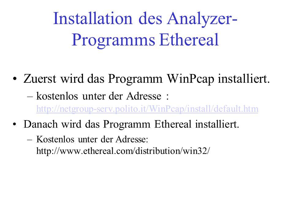 Installation des Analyzer- Programms Ethereal Zuerst wird das Programm WinPcap installiert. –kostenlos unter der Adresse : http://netgroup-serv.polito