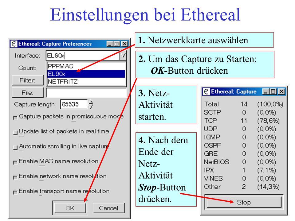 Einstellungen bei Ethereal 3. Netz- Aktivität starten. 4. Nach dem Ende der Netz- Aktivität Stop-Button drücken. 2. Um das Capture zu Starten: OK-Butt