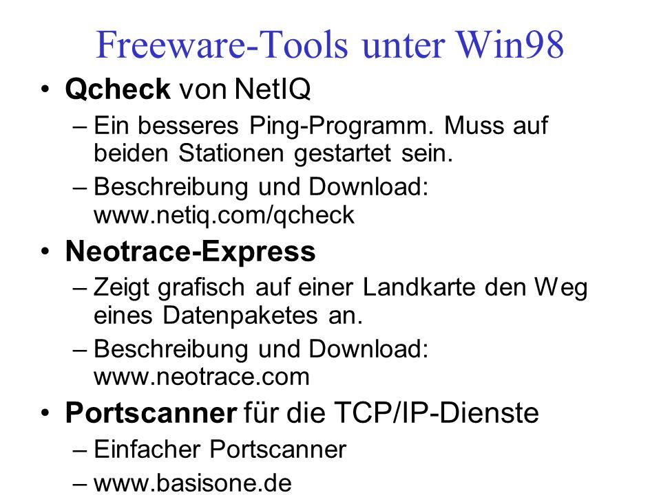 Freeware-Tools unter Win98 Qcheck von NetIQ –Ein besseres Ping-Programm. Muss auf beiden Stationen gestartet sein. –Beschreibung und Download: www.net
