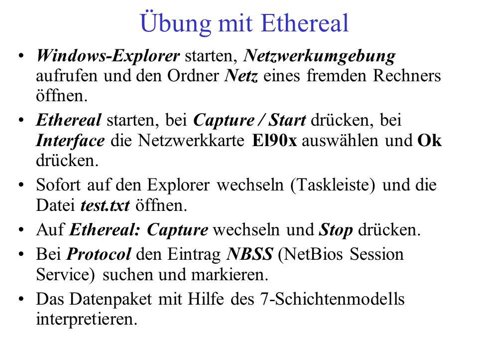 Übung mit Ethereal Windows-Explorer starten, Netzwerkumgebung aufrufen und den Ordner Netz eines fremden Rechners öffnen. Ethereal starten, bei Captur