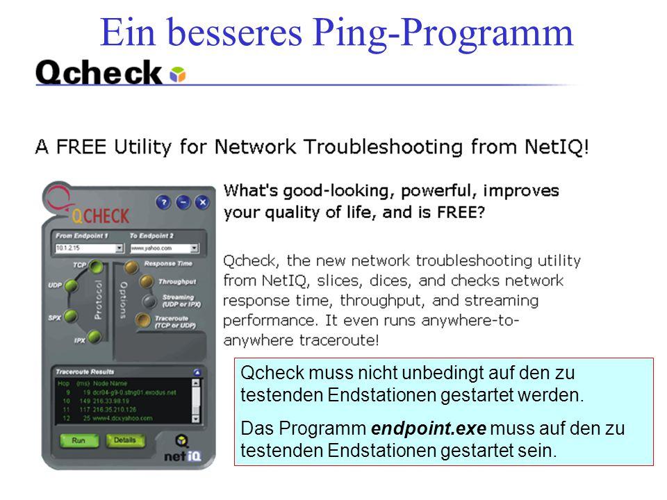 Ein besseres Ping-Programm Qcheck muss nicht unbedingt auf den zu testenden Endstationen gestartet werden. Das Programm endpoint.exe muss auf den zu t