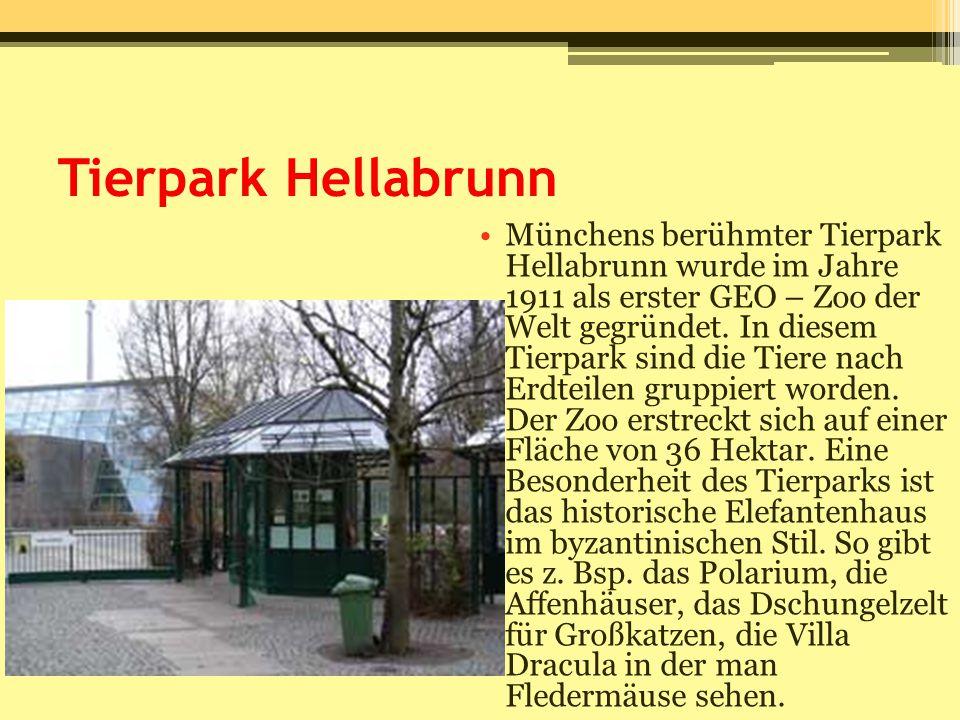 Tierpark Hellabrunn Münchens berühmter Tierpark Hellabrunn wurde im Jahre 1911 als erster GEO – Zoo der Welt gegründet. In diesem Tierpark sind die Ti