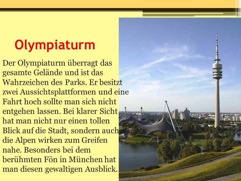 Olympiaturm Der Olympiaturm überragt das gesamte Gelände und ist das Wahrzeichen des Parks. Er besitzt zwei Aussichtsplattformen und eine Fahrt hoch s
