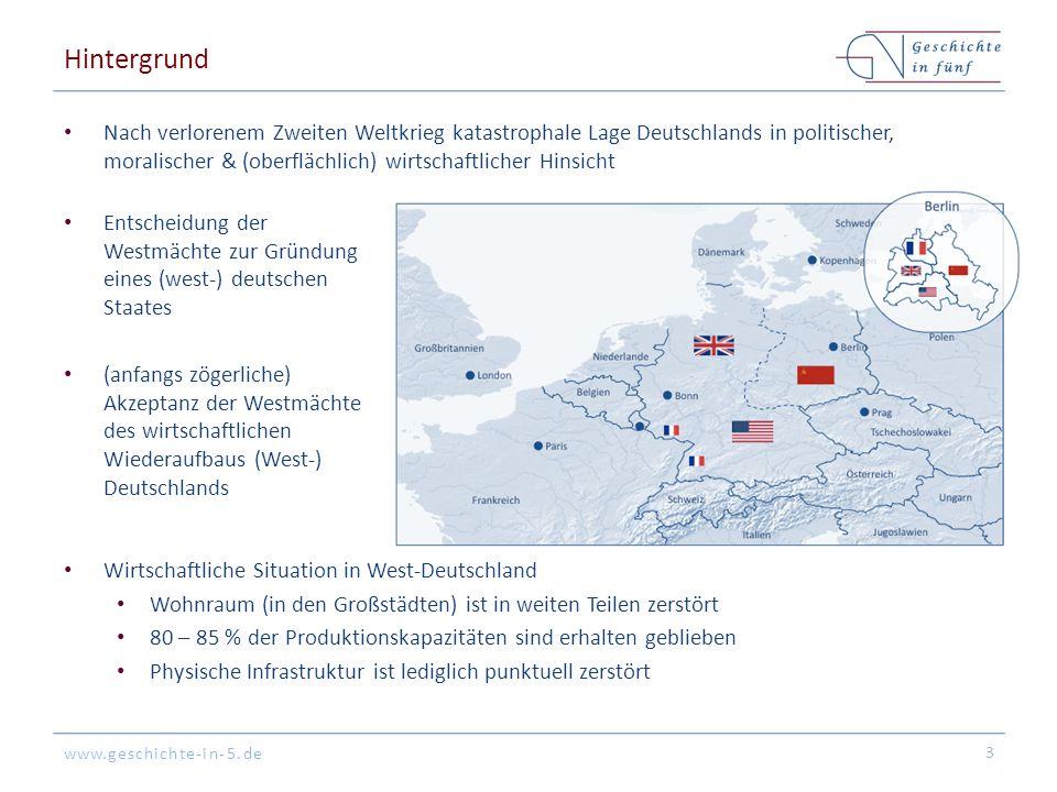 www.geschichte-in-5.de Hintergrund Nach verlorenem Zweiten Weltkrieg katastrophale Lage Deutschlands in politischer, moralischer & (oberflächlich) wir