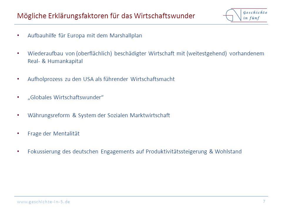 www.geschichte-in-5.de Mögliche Erklärungsfaktoren für das Wirtschaftswunder Aufbauhilfe für Europa mit dem Marshallplan Wiederaufbau von (oberflächli