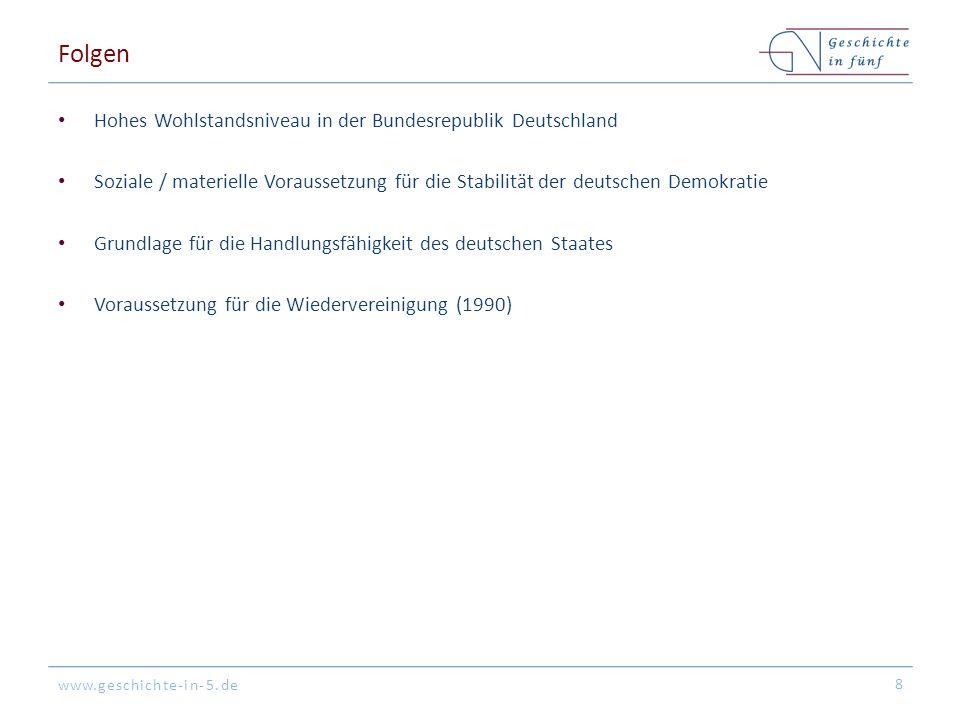 www.geschichte-in-5.de Folgen Hohes Wohlstandsniveau in der Bundesrepublik Deutschland Soziale / materielle Voraussetzung für die Stabilität der deuts