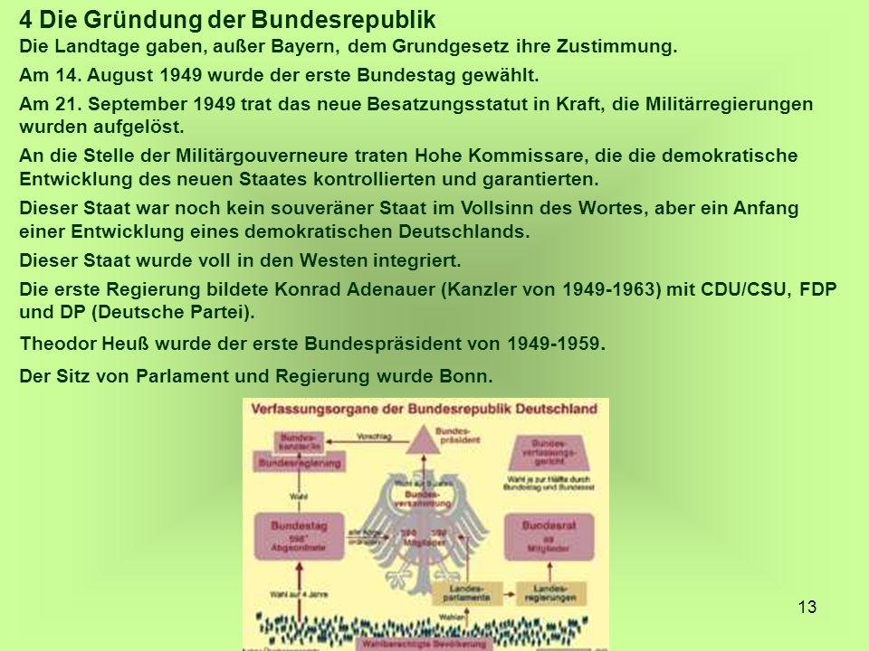 13 4 Die Gründung der Bundesrepublik Die Landtage gaben, außer Bayern, dem Grundgesetz ihre Zustimmung. Am 14. August 1949 wurde der erste Bundestag g