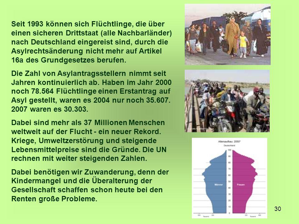 30 Seit 1993 können sich Flüchtlinge, die über einen sicheren Drittstaat (alle Nachbarländer) nach Deutschland eingereist sind, durch die Asylrechtsän