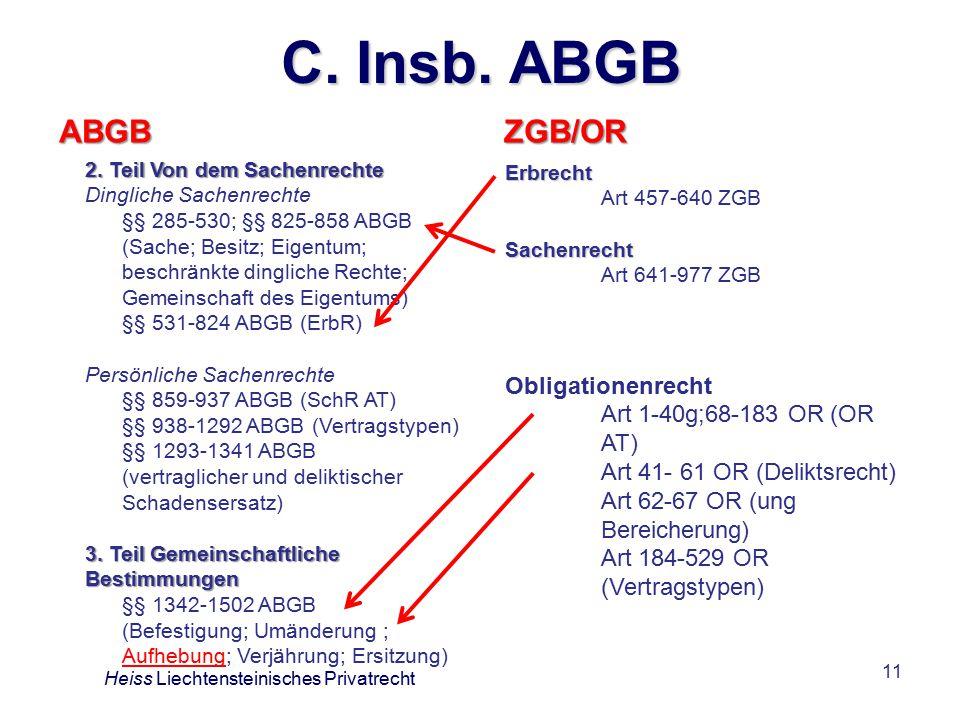 11 C.Insb. ABGB ABGB ZGB/OR Heiss Liechtensteinisches Privatrecht 2.