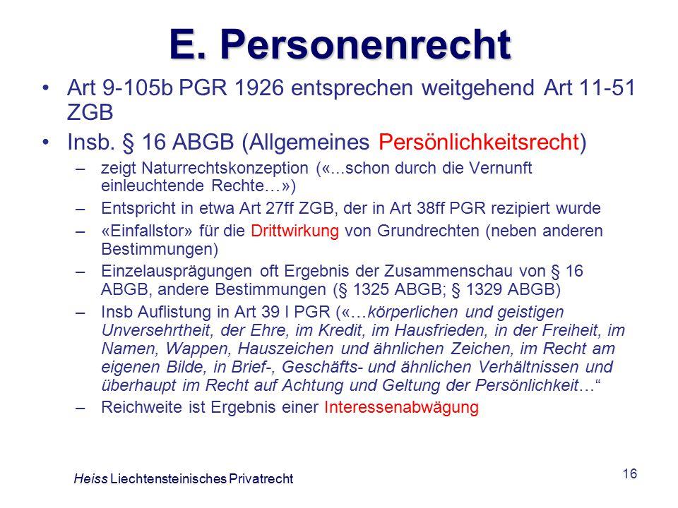 16 E.Personenrecht Art 9-105b PGR 1926 entsprechen weitgehend Art 11-51 ZGB Insb.