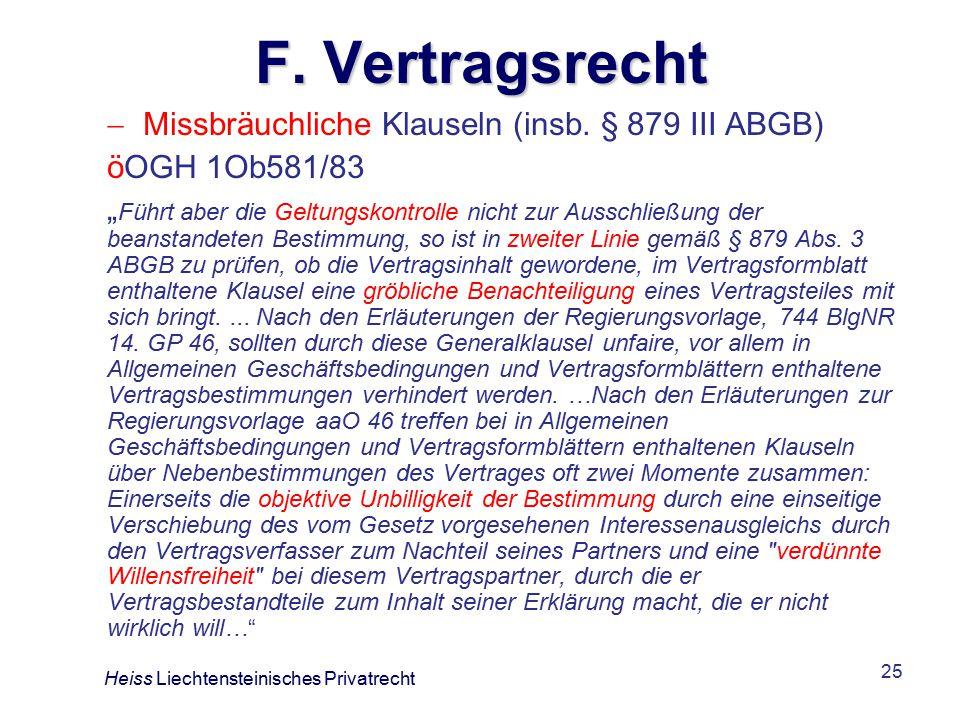 25 F.Vertragsrecht  Missbräuchliche Klauseln (insb.