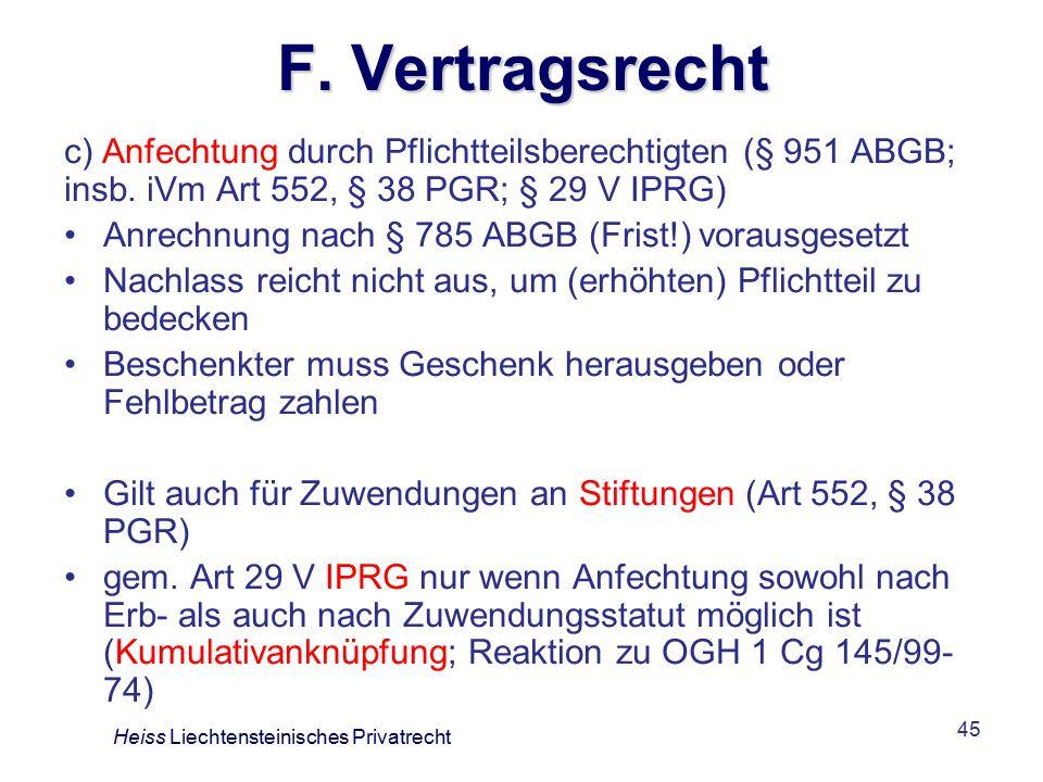 45 F.Vertragsrecht c) Anfechtung durch Pflichtteilsberechtigten (§ 951 ABGB; insb.