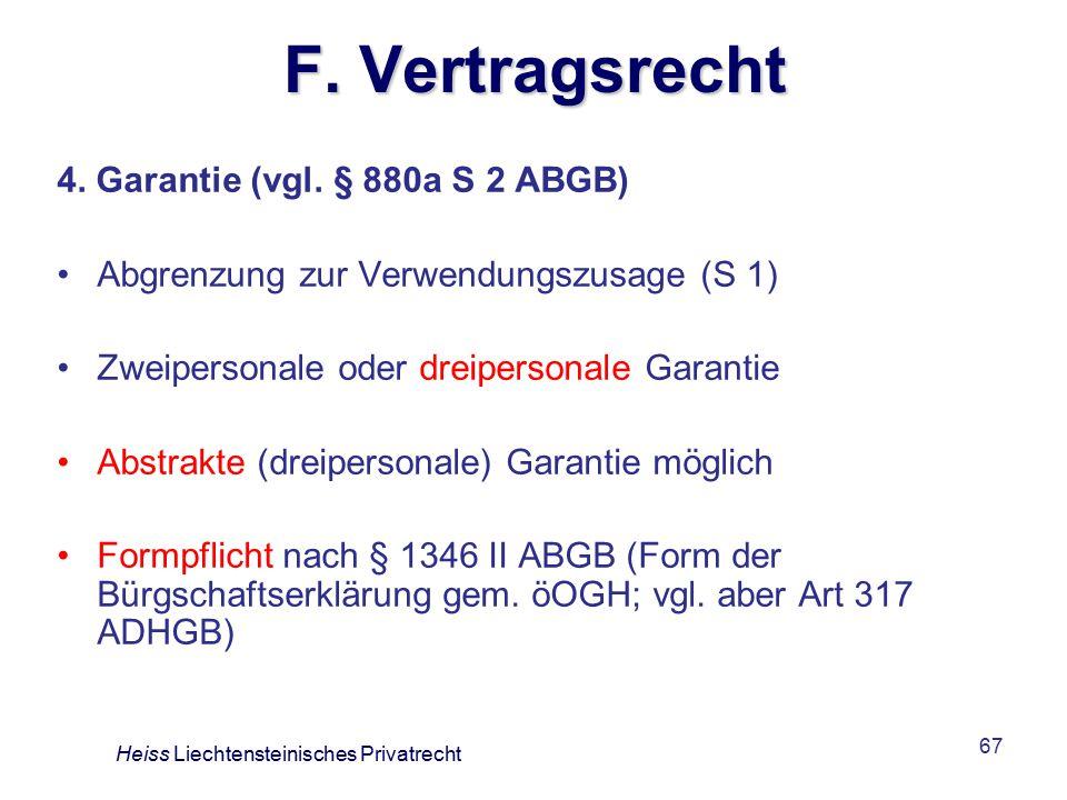 67 F.Vertragsrecht 4. Garantie (vgl.