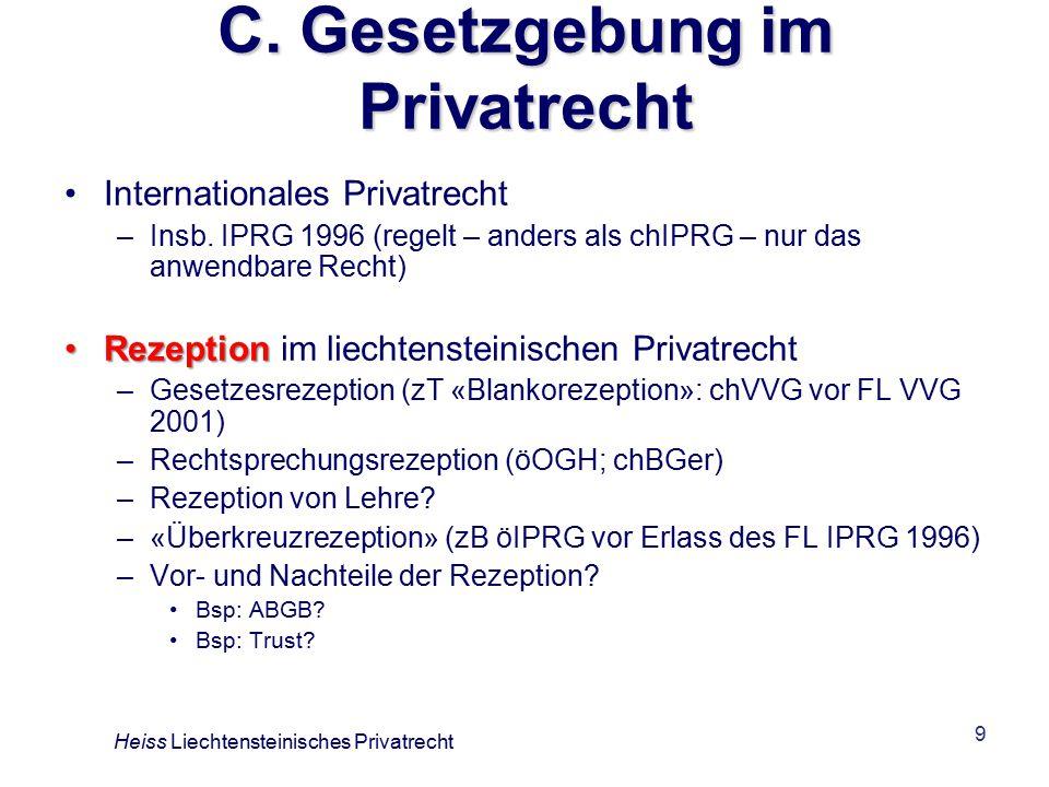 9 C.Gesetzgebung im Privatrecht Internationales Privatrecht –Insb.