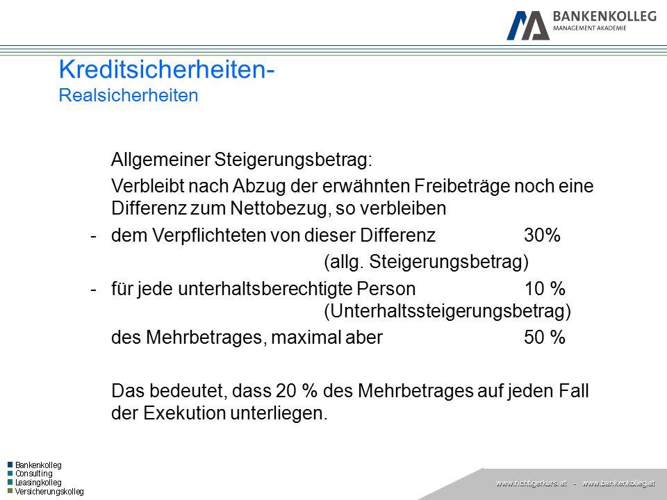 www.richtigerkurs. at www.richtigerkurs. at - www.bankenkolleg.at Kreditsicherheiten- Realsicherheiten Allgemeiner Steigerungsbetrag: Verbleibt nach A