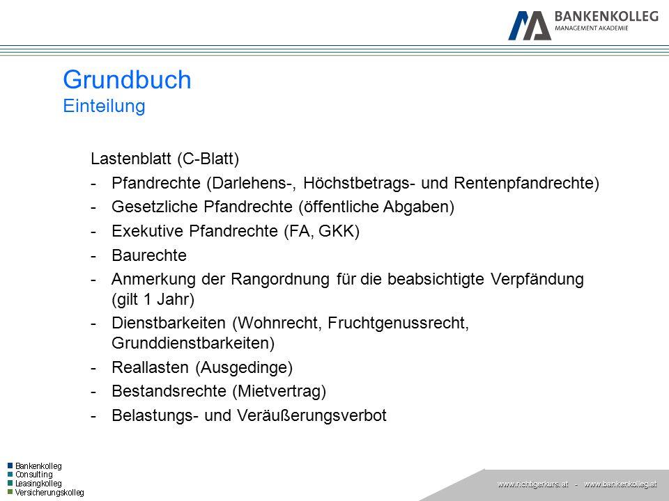 www.richtigerkurs. at www.richtigerkurs. at - www.bankenkolleg.at Grundbuch Einteilung Lastenblatt (C-Blatt) -Pfandrechte (Darlehens-, Höchstbetrags-
