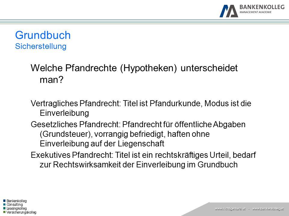 www.richtigerkurs. at www.richtigerkurs. at - www.bankenkolleg.at Grundbuch Sicherstellung Welche Pfandrechte (Hypotheken) unterscheidet man? Vertragl