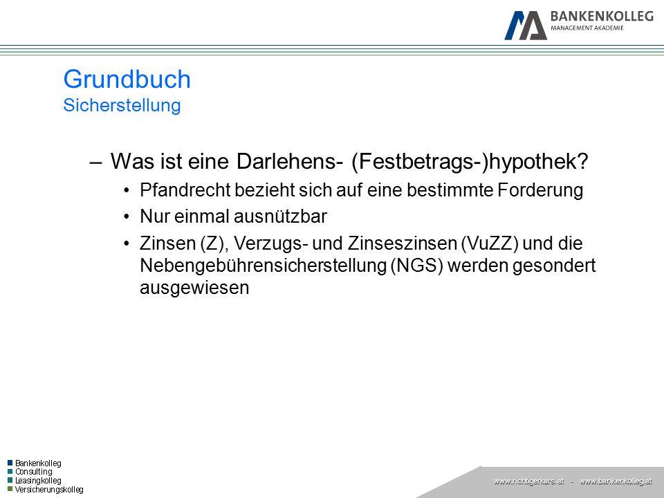 www.richtigerkurs. at www.richtigerkurs. at - www.bankenkolleg.at Grundbuch Sicherstellung –Was ist eine Darlehens- (Festbetrags-)hypothek? Pfandrecht