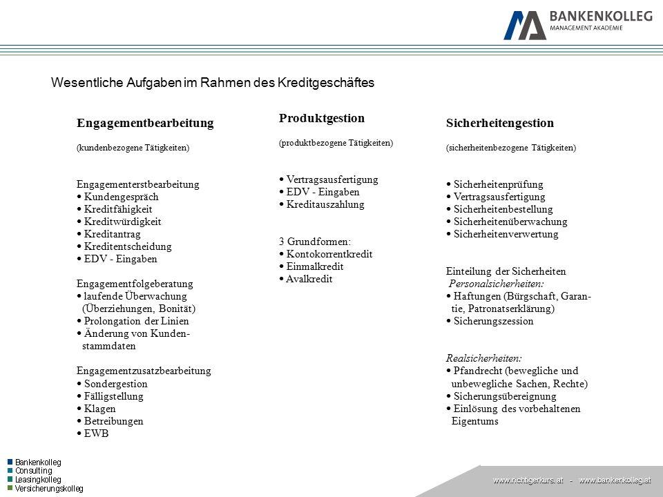 www.richtigerkurs. at www.richtigerkurs. at - www.bankenkolleg.at Wesentliche Aufgaben im Rahmen des Kreditgeschäftes Engagementbearbeitung (kundenbez