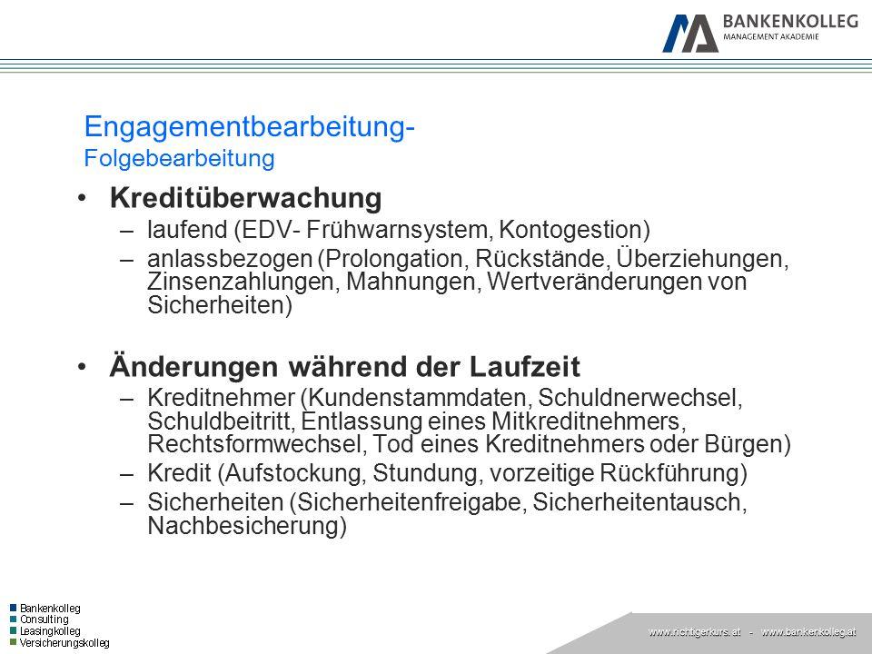 www.richtigerkurs. at www.richtigerkurs. at - www.bankenkolleg.at Engagementbearbeitung- Folgebearbeitung Kreditüberwachung –laufend (EDV- Frühwarnsys