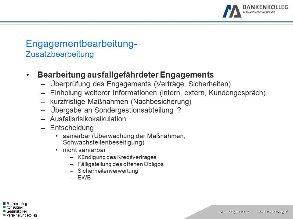 www.richtigerkurs. at www.richtigerkurs. at - www.bankenkolleg.at Engagementbearbeitung- Zusatzbearbeitung Bearbeitung ausfallgefährdeter Engagements