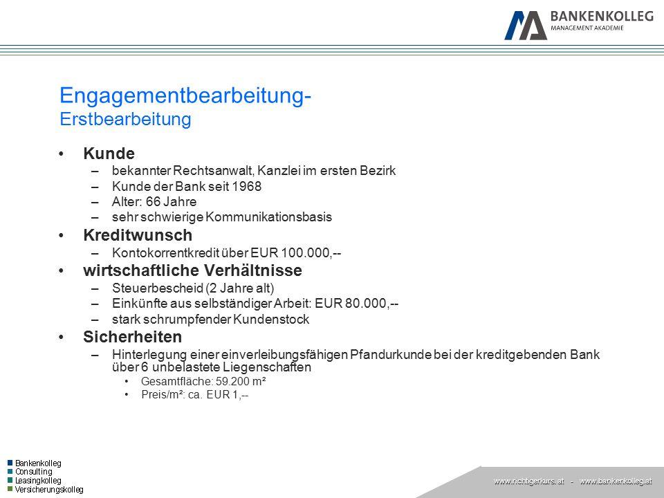 www.richtigerkurs. at www.richtigerkurs. at - www.bankenkolleg.at Engagementbearbeitung- Erstbearbeitung Kunde –bekannter Rechtsanwalt, Kanzlei im ers