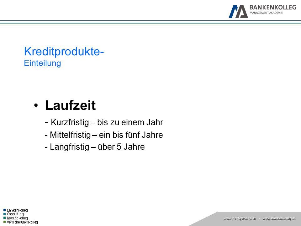 www.richtigerkurs. at www.richtigerkurs. at - www.bankenkolleg.at Kreditprodukte- Einteilung Laufzeit - Kurzfristig – bis zu einem Jahr - Mittelfristi