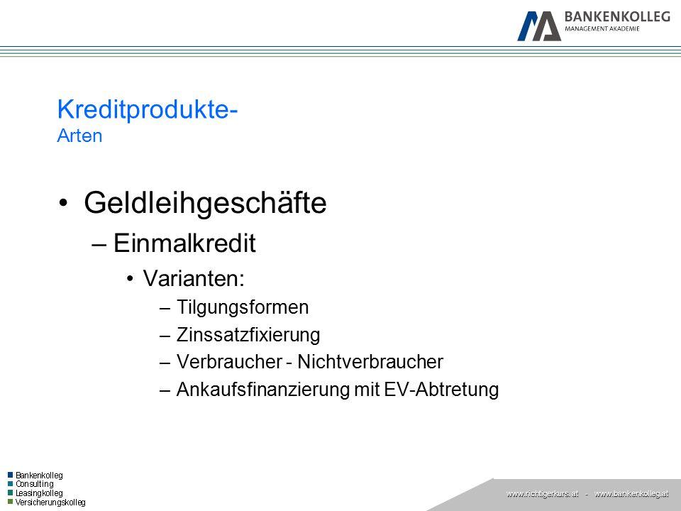 www.richtigerkurs. at www.richtigerkurs. at - www.bankenkolleg.at Kreditprodukte- Arten Geldleihgeschäfte –Einmalkredit Varianten: –Tilgungsformen –Zi