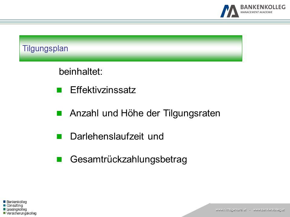 www.richtigerkurs. at www.richtigerkurs. at - www.bankenkolleg.at Tilgungsplan beinhaltet: Effektivzinssatz Anzahl und Höhe der Tilgungsraten Darlehen