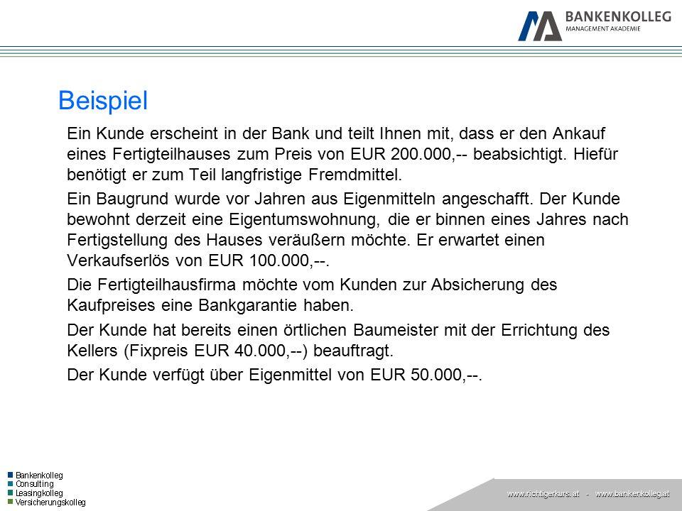 www.richtigerkurs. at www.richtigerkurs. at - www.bankenkolleg.at Beispiel Ein Kunde erscheint in der Bank und teilt Ihnen mit, dass er den Ankauf ein