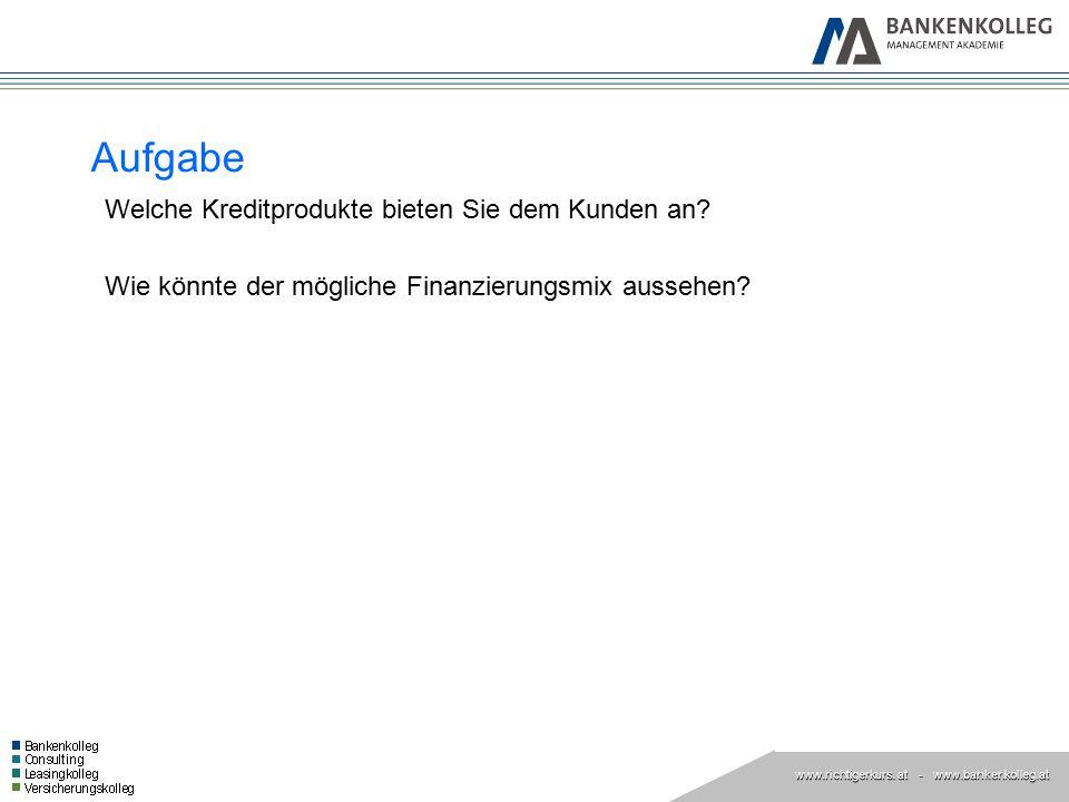 www.richtigerkurs. at www.richtigerkurs. at - www.bankenkolleg.at Aufgabe Welche Kreditprodukte bieten Sie dem Kunden an? Wie könnte der mögliche Fina
