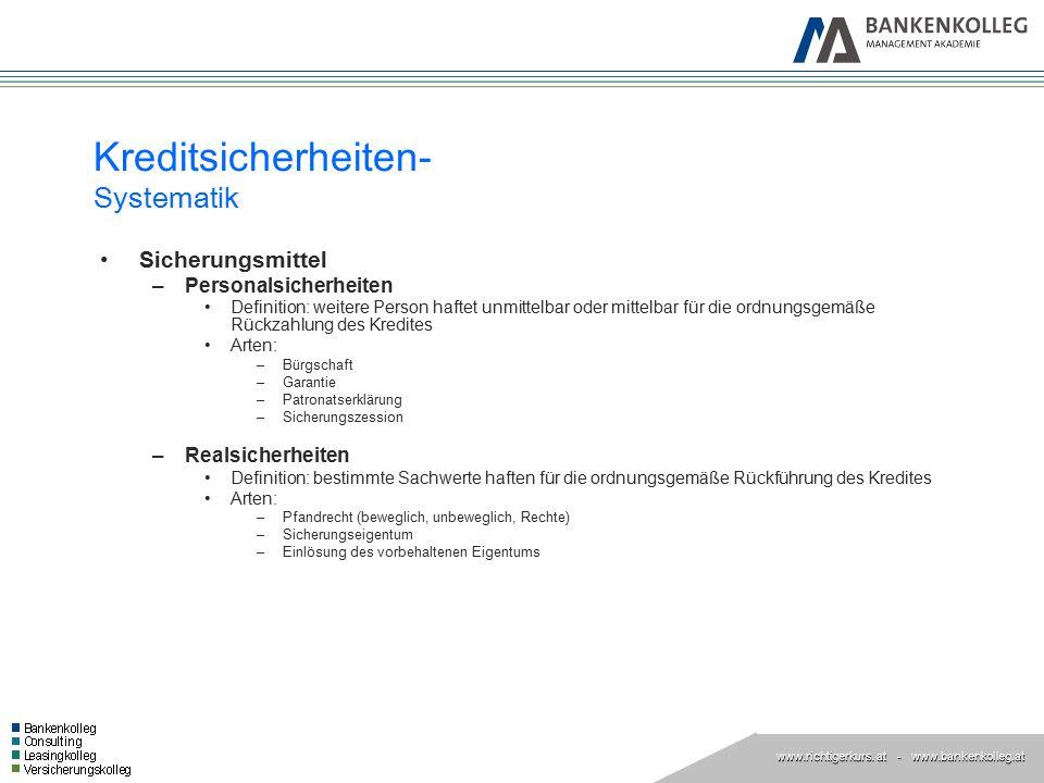 www.richtigerkurs. at www.richtigerkurs. at - www.bankenkolleg.at Kreditsicherheiten- Systematik Sicherungsmittel –Personalsicherheiten Definition: we